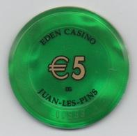 Jeton Eden Casino Groupe Partouche : Juan-les-Pins €5 BG - Casino