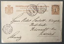 Indes Néerlandaise - Ned. Indie - Post Card Pour Zurich - TAD LIGNE N PAQ. FR. N°10 1890 - (W1400) - Nederlands-Indië