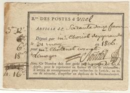 Reçu D'un Dépôt D'argent Au Bureau De Poste D'Ussel (Corréze) Pour Limoges. 1806 - Marcophilie (Lettres)