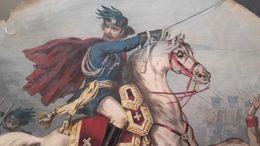 1860 LITOGRAFIA GARIBALDI ALLA CARICA CON SEGUITO DEI BERSAGLIERI - OVALE MOLTO RARA - CM. 30 X 45 - Litografia
