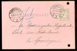 HANDGESCHREVEN BRIEFKAART Uit 1907 * GELOPEN Van ZAAMSLAG Naar GRONINGEN * NVPH 33   (11.559o) - Periode 1891-1948 (Wilhelmina)
