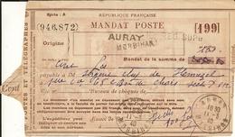 Mandat Poste D'AURAY Pour Le Secteur Postal Militaire 612 - Lattaquie (Levant) 11/03/40- Bat. De Chars De Combat - Marcophilie (Lettres)