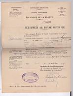 MARINE NATIONALE / CERTIFICAT BONNE CONDUITE(EXEMPLAIRE) ET NOTIFICATION DE REFORME D'UN QUARTIER MAITRE EN 1936 - Boten