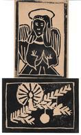 3074j: 2 AKs Linolschnitt- Motive Mit Weihnachtsbezug (ca. 1940) - Weihnachten