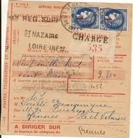 Mandat Chargé De Versement De St Nazaire Pour Rennes. Affranchis Paire N° 486 - Janvier 1941 - Marcophilie (Lettres)
