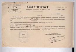 MARINE NATIONALE BREST /  CERTIFICAT  DE  PENSION  EN 1938 (LOI DU 31 / MARS 1919) - Boats