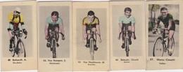 CHROMO'S-CYCLISME-ANNEES'30-LOT 5 IMAGES-CIMATTI+DEBAETS+VLOCKHOV+KEMPEN+DEFOORD-DIM+-2,5-5CM-VOYEZ LES 2 SCANS-TOP! ! ! - Cyclisme