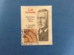 2001 DANIMARCA DANMARK BOGTRYKKER ANDREAS THIELE 5.50 FRANCOBOLLO USATO STAMP USED - Usati