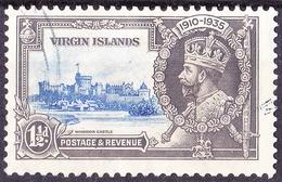 BRITISH VIRGIN ISLANDS 1935 KGVI Silver Jubilee 1.5d Ultramarine & Grey SG104 FU - British Virgin Islands