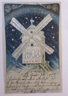 Neujahr,  Jahreszahl, Windmühle, Sterne  1902, Silberdruck ♥  (66541) - Anno Nuovo