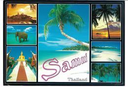 3078q: AK Thailand, Samui, Mehrbildkarte Mit Elefant, Gelaufen Nach Österreich - Éléphants