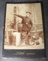 ANCIENNE PHOTO PHOTOGRAPHIE ARTISTIQUE FIN XIXe DEBUT XXe ENFANT HABILLE EN SOLDAT ENTRE ALSACE ET FRANCE, LITTLE SCENES - Anciennes (Av. 1900)