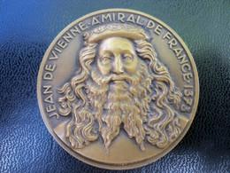 Ancienne Médaille Bronze Croiseur Jean De Vienne Amiral De France Signée Delamarre - Andere