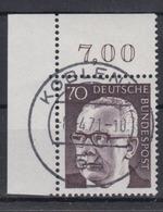 Bund 642 Eckrand Rechts Oben Gustav Heinemann (II) 80 Pf Ersttagsstempel Koblenz - BRD