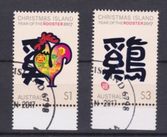Christmas Island 2017 Year Of The Rooster Set Of 2 CTO - - Christmas Island