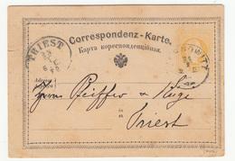 Austria Ukraine Postal Stationery Postcard (Ruthenian) Travelled 1870 Chernovitz (Chernivtsi) To Trieste B190601 - Ganzsachen