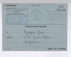 AVIS  SERVICE DES MINISTERE ANCIENS COMBATTANTS BORDEAUX 1974  POUR CENTRE  REFORME HOPITAL BAYONNE - Cartes De Franchise Militaire