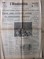Journal L'Humanité (10 Juil 1972) PC Union Programme Commun - Tour De France - A Colas - Boues Rouges Corse - Newspapers