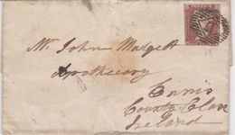 Great Britain-1845 1d Red On Blued Paper London Horizontal 17 Cover To Ireland - 1840-1901 (Victoria)