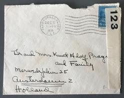 USA, Lettre De PASS-A-GRILLE BEACH 1939 Pour Amsterdam, Censure Militaire + Vignette Au Dos - (W1426) - United States