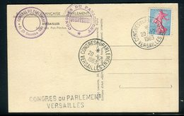 """Oblitération """" Congrès Du Parlement Versailles """" Sur Carte Postale En 1963 -  Réf M16 - Marcophilie (Lettres)"""