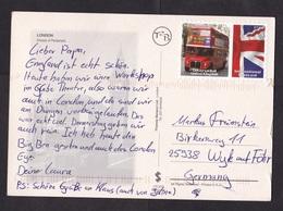 UK: Picture Postcard London To Germany, 1 Stamp, Private Postal Service Universal Mail, Bus, Transport (minor Damage) - 1952-.... (Elizabeth II)