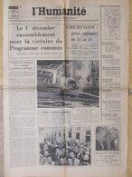 Journal L'Humanité (10 Nov 1972) Programme Commun - Christian David - Salon Enfance - A Vincennes - Newspapers