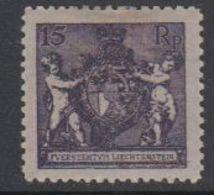 Liechtenstein 1921 Freimarke Landeswappen 15Rp Perf 12.5 * Mh (= Mint, Hinged) (42870A) - Ongebruikt