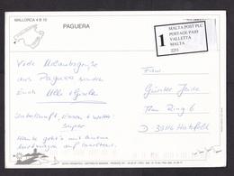 Spain: Picture Postcard Mallorca To Germany, Label Malta Over Stamp Of Private Postal Service TNT (minor Crease) - 2011-... Brieven