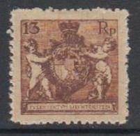 Liechtenstein 1921 Freimarke Landeswappen 13Rp Perf 12.5 * Mh (= Mint, Hinged) (42870B) - Ongebruikt
