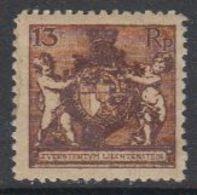 Liechtenstein 1921 Freimarke Landeswappen 13Rp Perf 12.5 * Mh (= Mint, Hinged) (42870C) - Ongebruikt