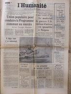 Journal L'Humanité (6 Nov 1972) Union Populaire - Fauqueux - Joe Hamman - G Séguy - Newspapers