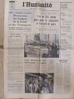 Journal L'Humanité (4 Nov 1972) Budgets Santé Et Transports - Nixon - Salaires Féminins - A Plaisir - - Newspapers