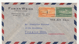 Fabian Weiss Habana Company Air Mail Letter Cover Travelled 1946 To Prague B190601 - Cuba