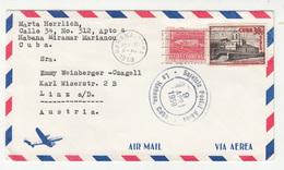 Cuba Air Mail Letter Cover Travelled 1959 To Austria B190601 - Cuba
