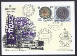 1976 SAN MARINO SAINT MARIN EUROPA CEPT CONSEIL DE L'EUROPE 20e ANNIVERSAIRE 1956-1976 FDC CARTE COUNCIL EUROPE - San Marino