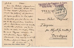 """Griffe """"Internement Des Prisonniers De Guerre - SIERRE Suisse"""" 1916 Sur CP - Militaire Post"""