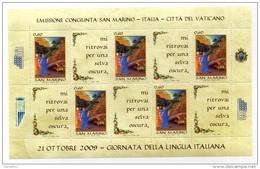 2009 SAN MARINO GIORNATA DELLA LINGUA ITALIANA FOGLIETTO ** - Blocks & Sheetlets