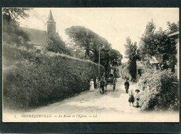 CPA - HENNEQUEVILLE - La Route Et L'Eglise, Animé - Attelage - France