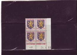 N° 903 - 3F Blason De FRANCHE-COMTE - A De A+B 1° Tirage Du24.4 Au 2.5.51 - 26.04.1951 - - Coins Datés