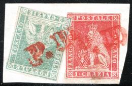 Toscana 1857 Sass.12+13 Su Frammento O/Used VF/FF - Tuscany