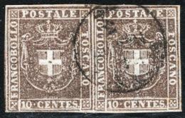 Toscana 1860 Governo Provvisorio Sass.19 Coppia O/Used VF/F Cert. Oliva - Tuscany