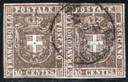 Toscana 1860 Governo Provvisorio Sass.19 Coppia O/Used VF/F Cert. Oliva - Toskana