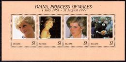 Belize 1998 Princess Diana Souvenier Sheet Unmounted Mint. - Belize (1973-...)