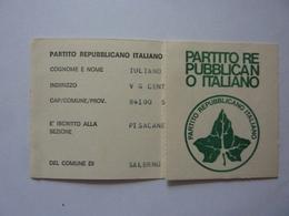 """Tessera """"PARTITO REPUBBLICANO ITALIANO"""" Anno 1976 - Documenti Storici"""