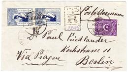 R-Flugbrief Aus Stamboul Nach Berlin; Mit Kriegsteuermarken Paar Teilweise Ungezähnt - Storia Postale