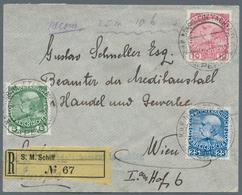 China - Fremde Postanstalten / Foreign Offices: 1910, Austrian P.O.China, 5 H Green, 10 H Rose-carmi - China