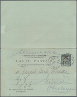 """China - Fremde Postanstalten / Foreign Offices: France, 1901, UPU Reply Card 10 C. Canc. """"CHEFOU 4 D - China"""