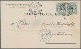 """China - Fremde Postanstalten / Foreign Offices: France, 1909, 2 C./5 Cts, A Horizontal Pair Tied """"HA - China"""