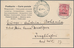 """China - Fremde Postanstalten / Foreign Offices: Germany, 1904, 10 Pf. Tied """"TSCHIFU 20/2 04"""" To Ppc - China"""